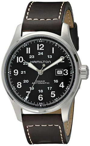 Hamilton Khaki Field 44MM Black Dial Leather Band Men's Watch H70625533
