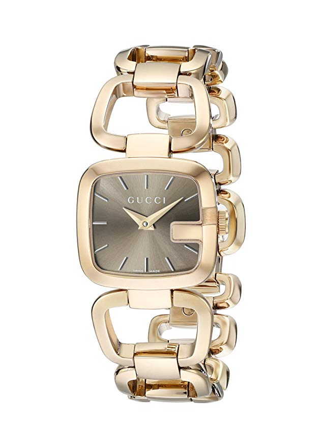 Gucci G-Collection 32x30MM Brown Sunbrushed Dial Gold Tone Women's Watch YA125511