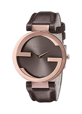 Gucci Interlocking Brown Strap Women's Watch YA133309