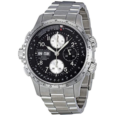 Hamilton Khaki Aviation X-Wind Chrono Black Dial Steel Automatic Men's Watch H77616133