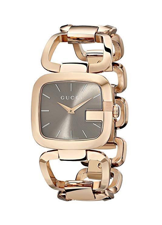 Gucci G-Collection 32x30MM Brown Dial Gold Tone Women's Watch YA125408