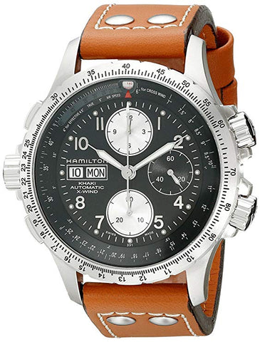 Hamilton Khaki Aviation X-Wind Black Dial Brown Leather Band Men's Watch H77616533