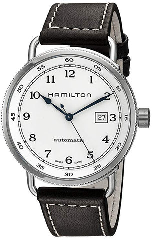Hamilton Khaki Navy Pioneer Silver Dial Brown Leather Band Men's Watch H77715553