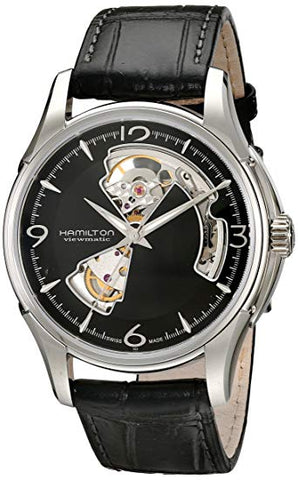 Hamilton Jazzmaster Open Heart Black Leather Auto Men's Watch H32565735