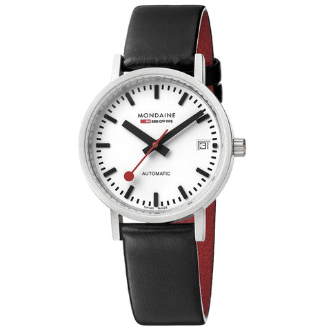 Mondaine A128.30008.16SBB Classic Automatic Men's Black Leather Watch
