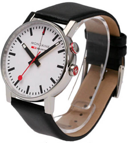 Mondaine A468.30352.11SBB Evo Big Alarm White Dial Men's Leather Watch