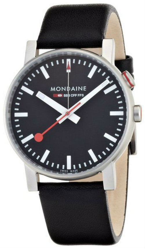 Mondaine A468.30352.14SBB Evo Big Alarm Black Dial Men Leather Watch