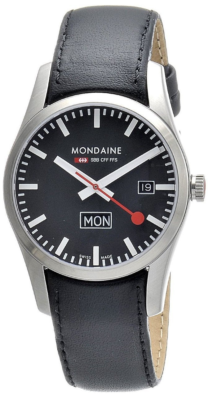 Mondaine A667.30340.14SBB Basics Retro Men's Black 40mm Date-Day Watch