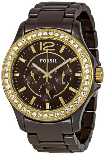 Fossil Riley Brown Ceramic Women's Watch CE1044
