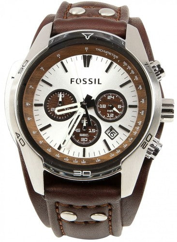 Fossil Cuff Chronograph Brown Leather Band Men's Watch CH2565