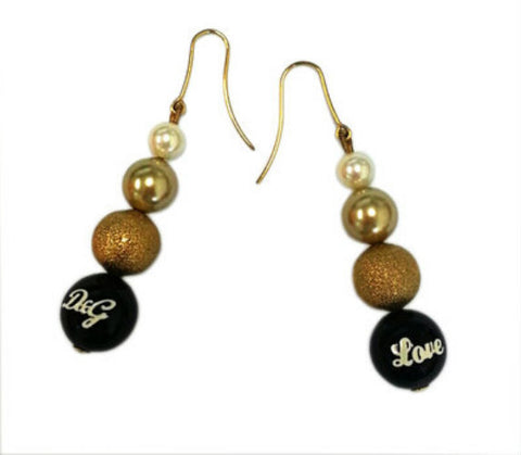 "D & G Dolce & Gabbana Faux Pearl ""Love"" Journey Drop Earrings DJ0619"