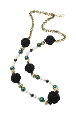 D & G Dolce & Gabbana Geisha Green Color Chain Steel Necklace DJ0858