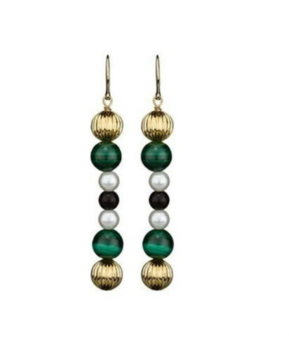 D & G Dolce & Gabbana Geisha Green Color Steel Drop Earrings DJ0859