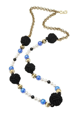 D & G Dolce & Gabbana Geisha Color Steel Blue Chain Necklace DJ0860