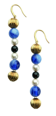 D & G Dolce & Gabbana Geisha Blue Color Steel Drop Earrings DJ0861