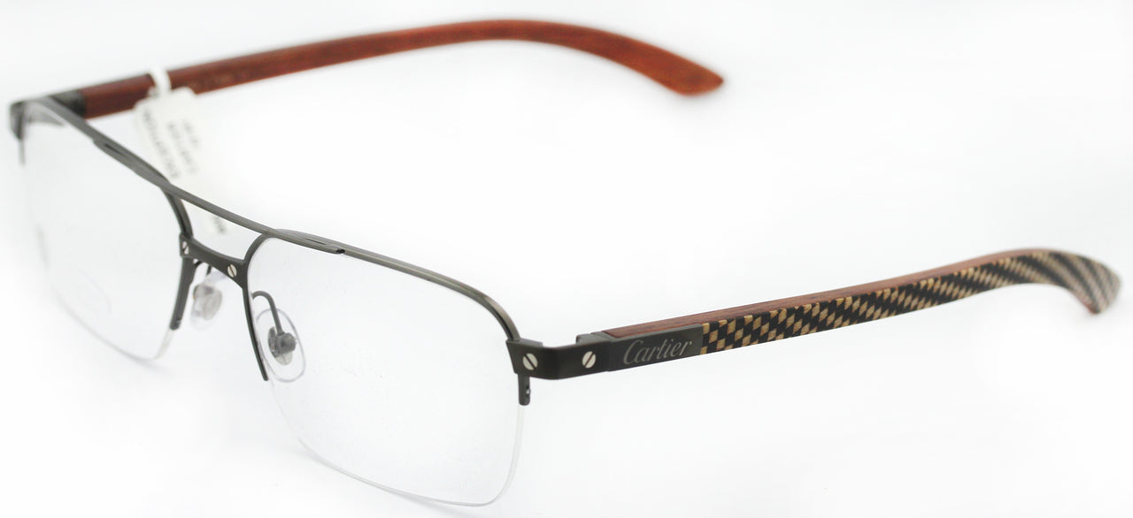Cartier Santos Titanium Wood Marquetry Men Optical Glasses EYE00055