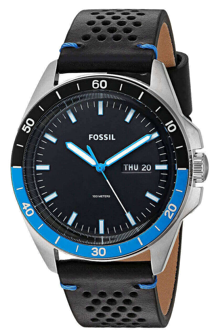 Fossil Sport 54 Day Date Perforated Black Leather Men Watch FS5321