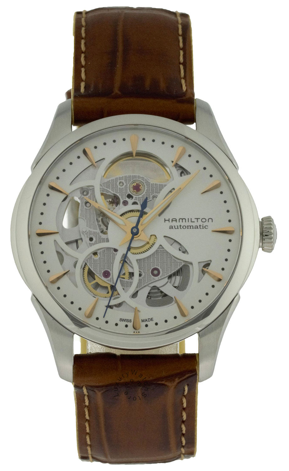 Hamilton Jazzmaster Viewmatic Skeleton Auto Leather Watch H32405551