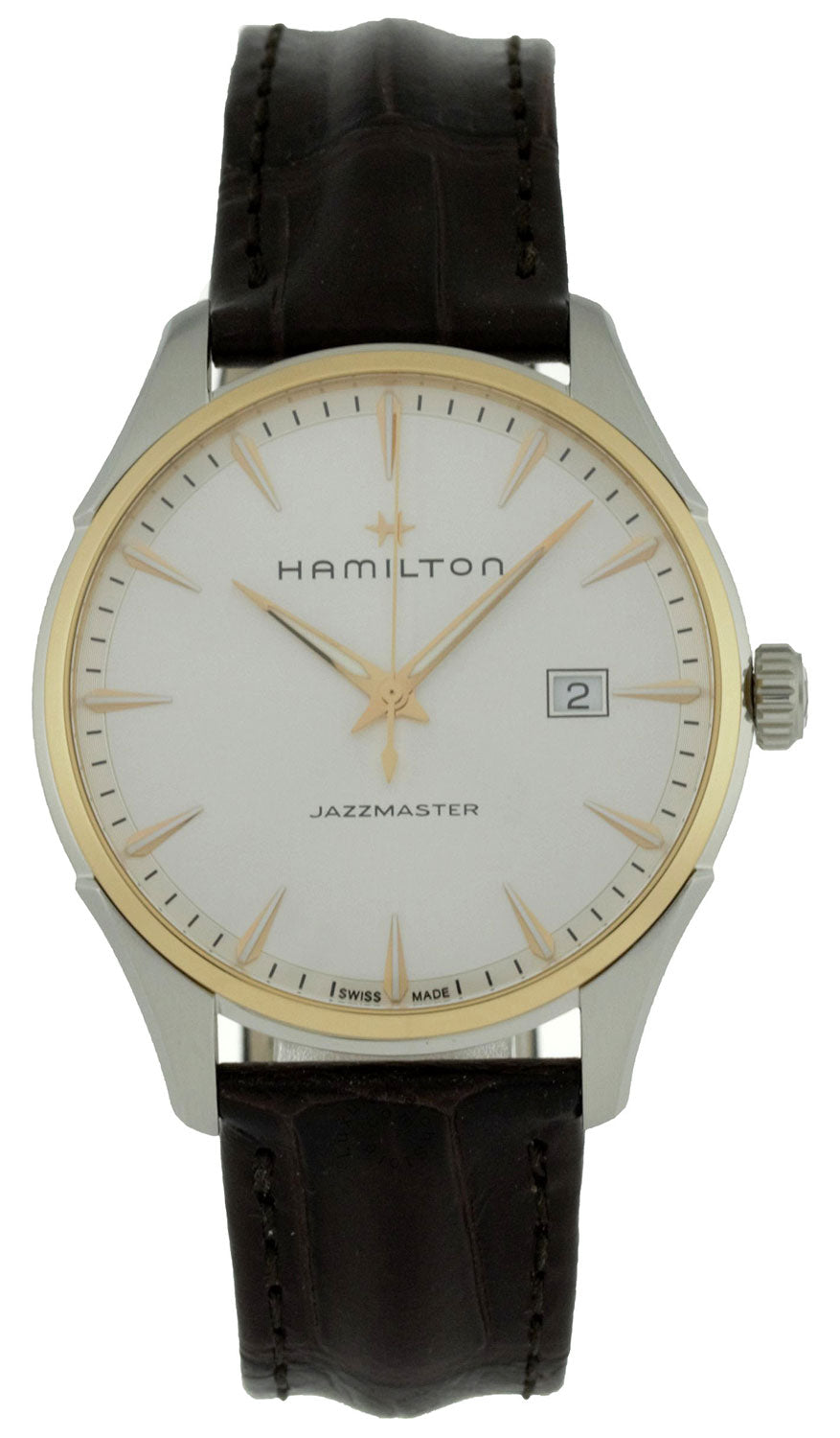 Hamilton Jazzmaster Silver Dial Brown Leather Band Men Watch H32441551