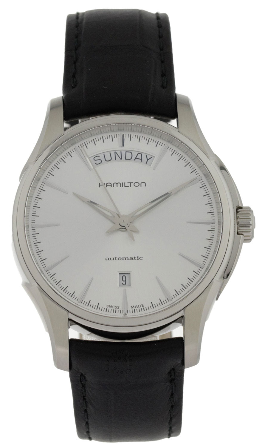 Hamilton Jazzmaster Day Date Silver Dial Leather Auto Watch H32505751