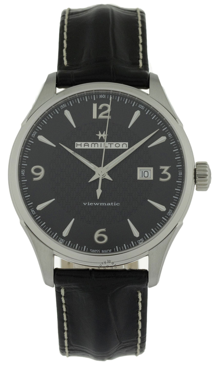 Hamilton Jazzmaster Viewmatic Black Dial Leather Auto Watch H32755731