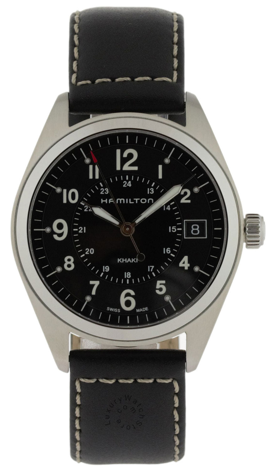 Hamilton Khaki Field Leather Strap Black Quartz Men Watch H68551733