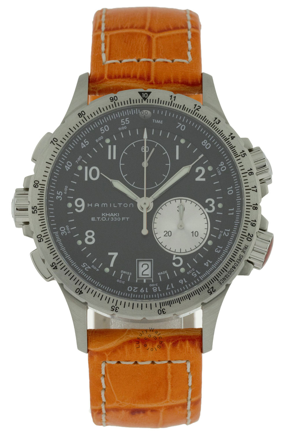 Hamilton Khaki Aviation ETO Chrono Orange Leather Men Watch H77612933