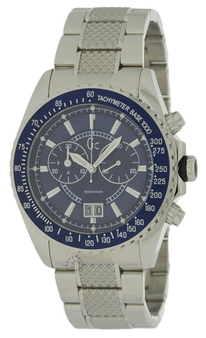 Guess Sport Class XL Chronograph 46MM Blue Dial SS Men Watch I41007G1