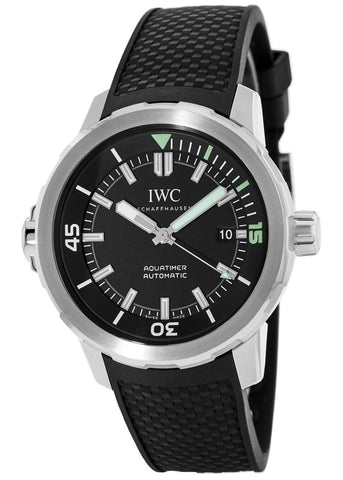 IWC Schaffhausen Aquatimer Black Dial Black Rubber Mens Watch IW329001