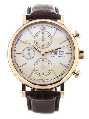 IWC Portofino 18kt Rose Gold BRN Leather Automatic Men Watch IW391020