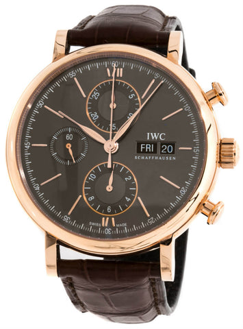 IWC Portofino Chronograph 18CT Red Gold Case Slate Dial Watch IW391021