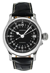Longines Heritage 47.5mm Auto SS Blk Leather Men's Watch L27514534