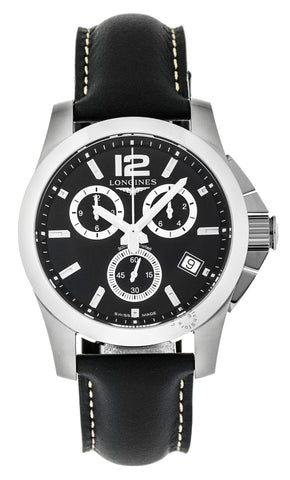 Longines Conquest 41mm Chrono SS Black Leather Watch L36604563