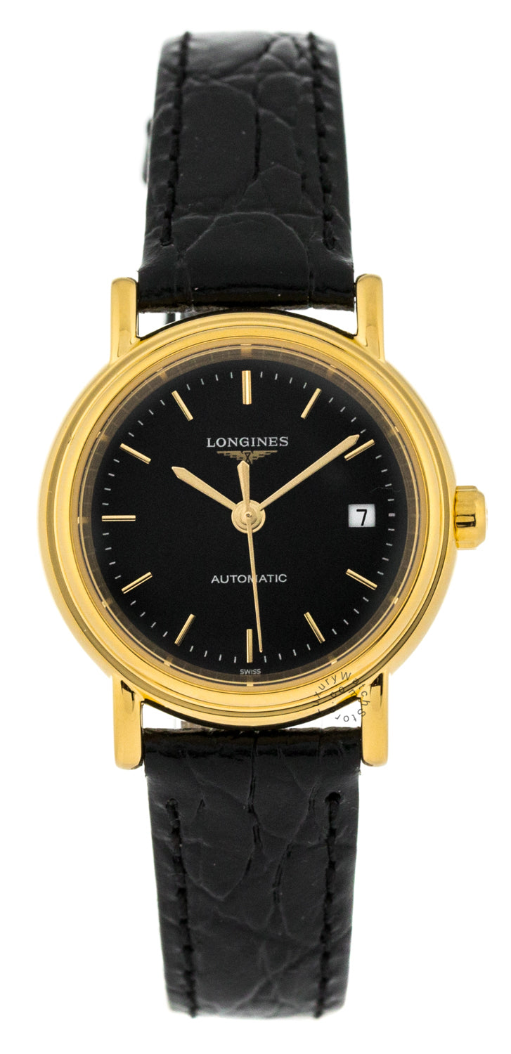 Longines Presence 25.5mm PVD Automatic Black Leather Watch L43212522