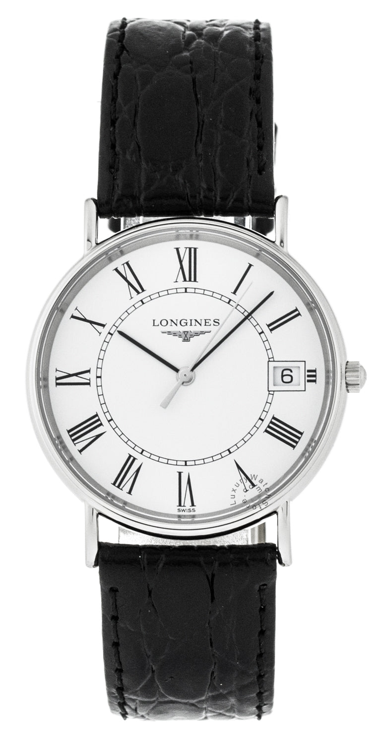 Longines  Presence 33mm SS Black Leather Watch L47204112 / L48194112