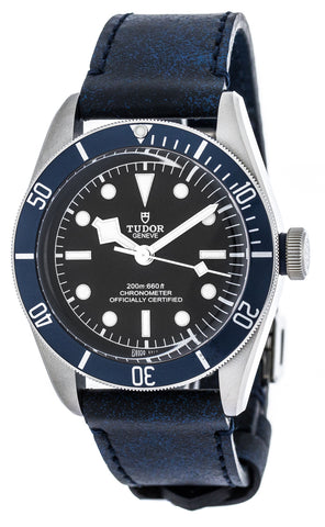 Tudor Heritage Black Bay Blue Disc Blue Leather Auto Men Watch 79230B