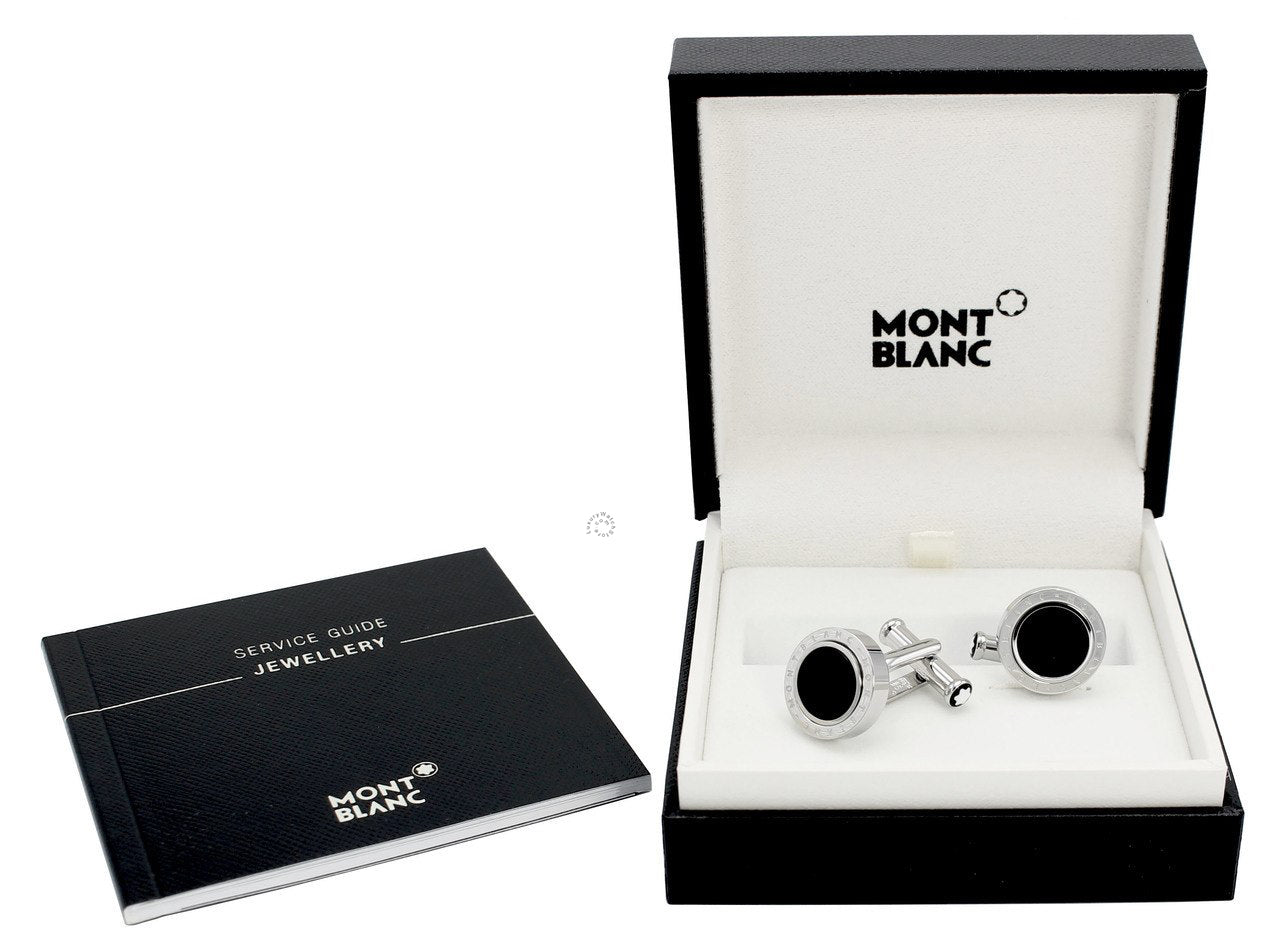 Montblanc Meisterstück Onyx Inlay Rotating Ring SS Cuff Links 116664