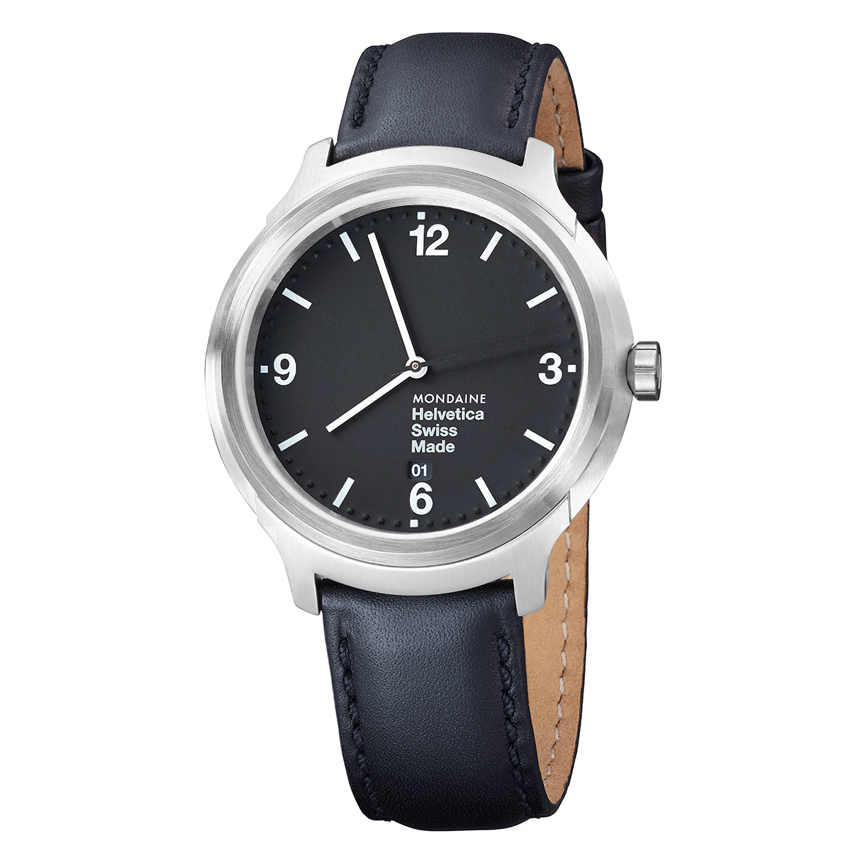 Mondaine MH1.B1220.LB Helvetica No1 Bold Black Leather Men's Watch