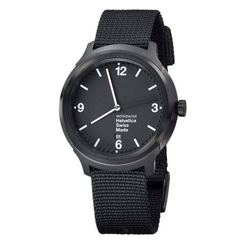 Mondaine MH1.B1221.NB Helvetica No1 Bold IP Blk Men Black Nylon Watch