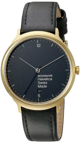 Mondaine MH1.L2221.LB Helvetica No1 Light Black Dial Men Leather Watch