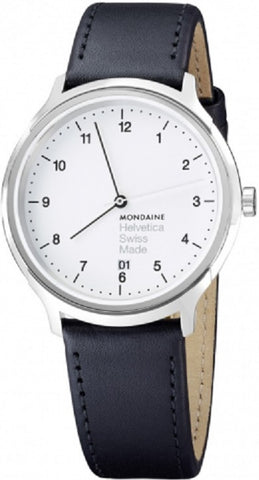 Mondaine MH1.R2210.LB Helvetica No1 Regular WHT Dial Men Leather Watch