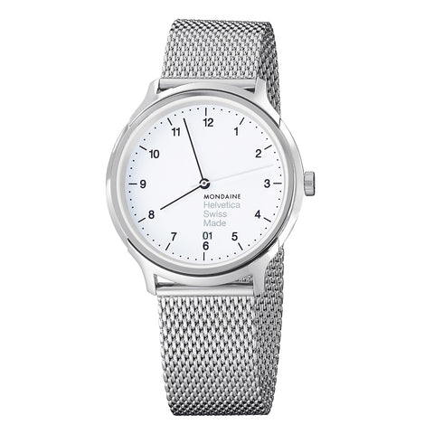 Mondaine MH1.R2210.SM Helvetica No1 Regular WHT Dial Men Mesh SS Watch