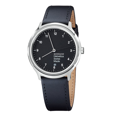 Mondaine MH1.R2220.LB Helvetica No1 Regular BLK Dial Men Leather Watch