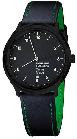 Mondaine MH1.R2221.LB Helvetica No1 Regular BLK Dial Men Leather Watch