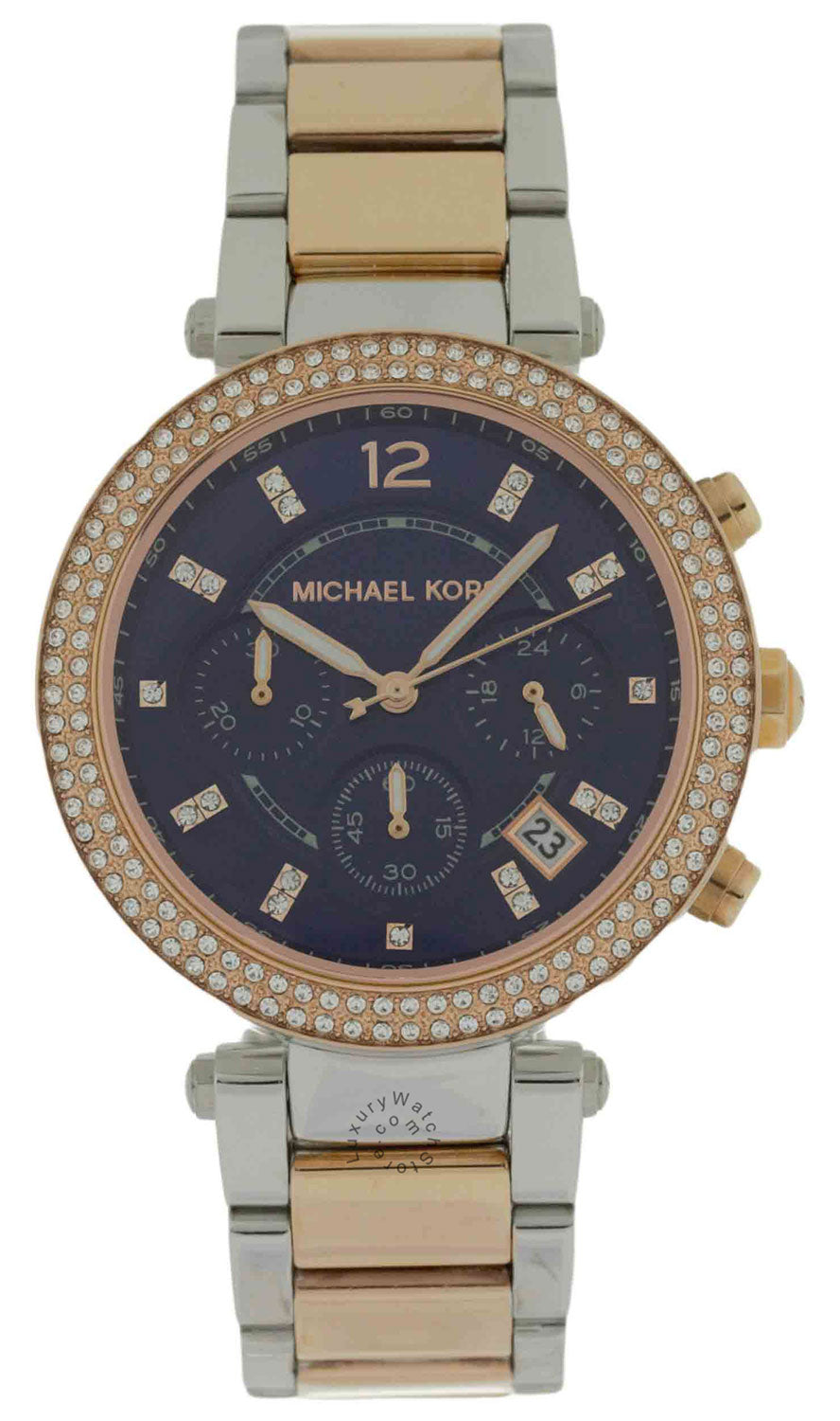 Michael Kors MK6141 Parker Chrono Blue Dial Women Two Tone Steel Watch
