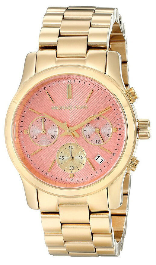 Michael Kors MK6161 Runway Chronograph Pink Dial Women's Gold SS Watch