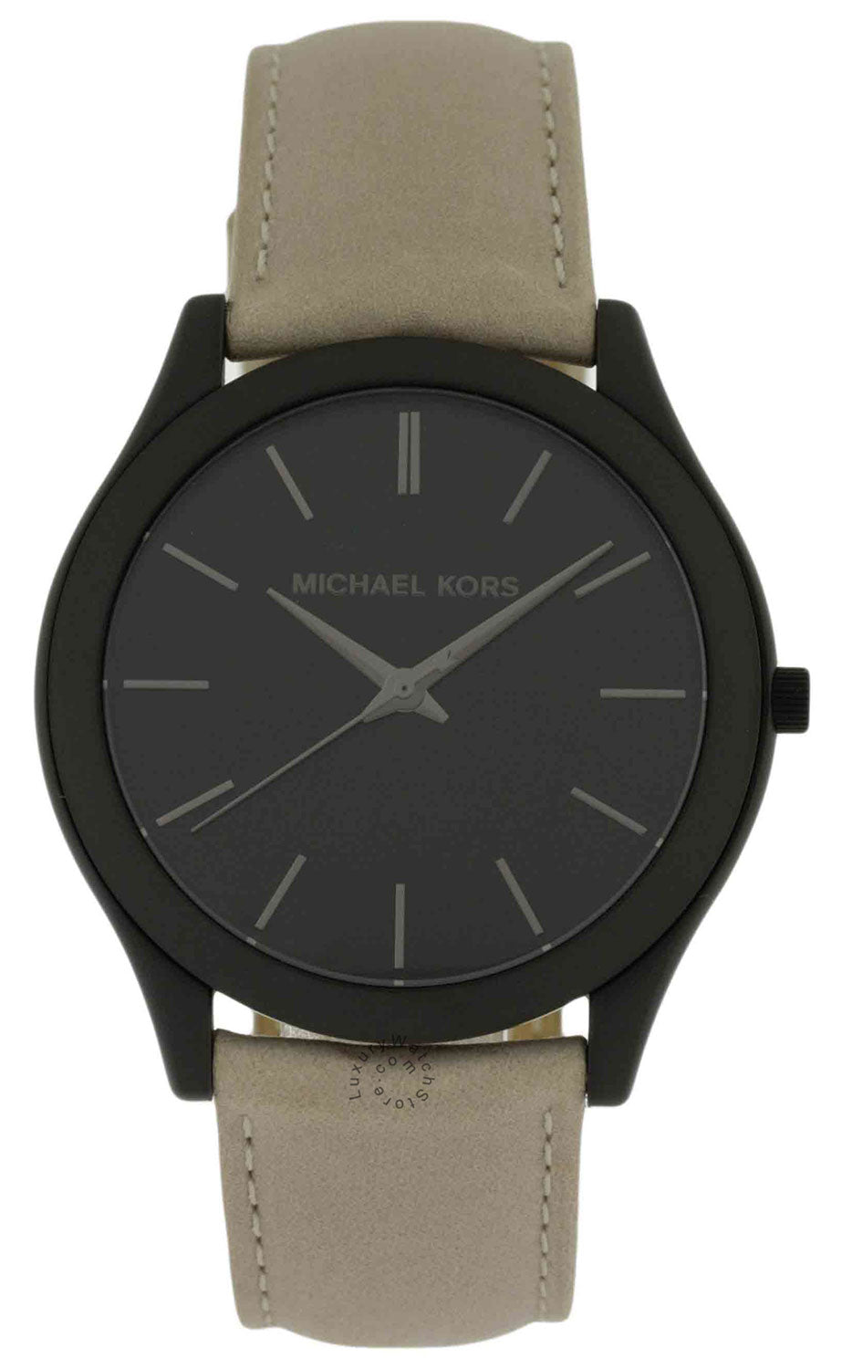 Michael Kors Slim Runway Black Dial Beige Leather SS Men Watch MK8510