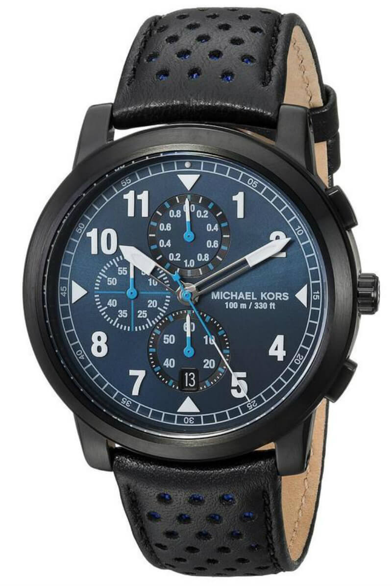 Michael Kors Paxton Chronograph Black IP SS Leather Men Watch MK8547