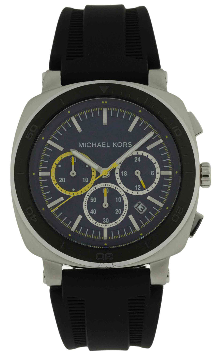 Michael Kors Bax Chronograph Blue Dial Rubber Strap Men Watch MK8553