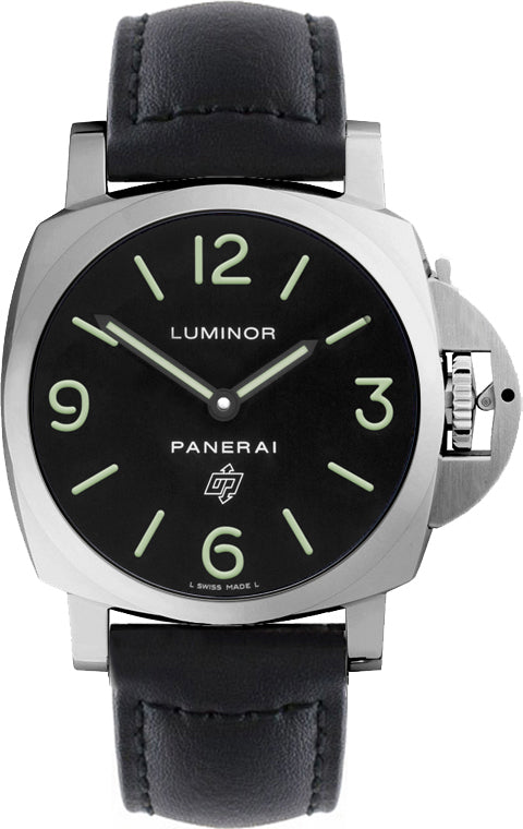Panerai Luminor Base Logo Acciaio 44mm Black Leather Watch PAM01000